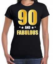 90 and fabulous verjaardag cadeau shirt kleding 90 jaar zwart met goud voor dames kopen