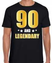 90 and legendary verjaardag cadeau shirt kleding 90 jaar zwart met goud voor heren kopen