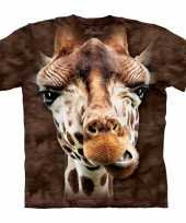 All over print t-shirt giraf bruin kopen