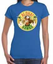 Aloha hawaii shirt beach party outfit kleding blauw voor dames kopen