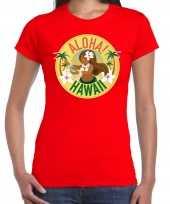 Aloha hawaii shirt beach party outfit kleding rood voor dames kopen