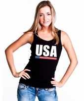 Amerika supporter mouwloos shirt tanktop zwart dames kopen