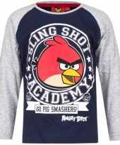 Angry birds shirt lange mouw blauw grijs voor jongens kopen