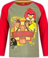 Angry birds shirt lange mouw groen rood voor jongens kopen