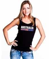 Australie supporter mouwloos shirt tanktop zwart dames kopen