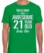 Awesome 21 year verjaardag cadeau t-shirt groen voor heren kopen