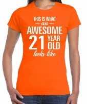 Awesome 21 year verjaardag cadeau t-shirt oranje voor dames kopen