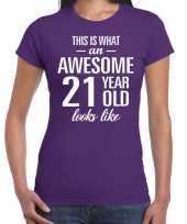 Awesome 21 year verjaardag cadeau t-shirt paars voor dames kopen