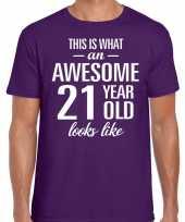 Awesome 21 year verjaardag cadeau t-shirt paars voor heren kopen