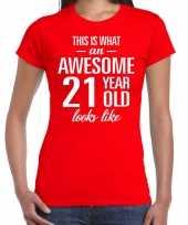 Awesome 21 year verjaardag cadeau t-shirt rood voor dames kopen