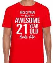 Awesome 21 year verjaardag cadeau t-shirt rood voor heren kopen