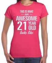 Awesome 21 year verjaardag cadeau t-shirt roze voor dames kopen