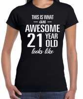 Awesome 21 year verjaardag cadeau t-shirt zwart voor dames kopen
