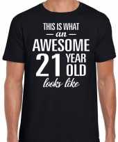 Awesome 21 year verjaardag cadeau t-shirt zwart voor heren kopen