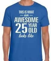 Awesome 25 year verjaardag cadeau t-shirt blauw voor heren kopen