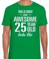 Awesome 25 year verjaardag cadeau t-shirt groen voor heren kopen