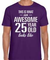 Awesome 25 year verjaardag cadeau t-shirt paars voor heren kopen