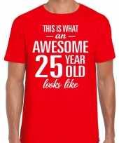 Awesome 25 year verjaardag cadeau t-shirt rood voor heren kopen