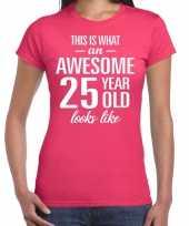 Awesome 25 year verjaardag cadeau t-shirt roze voor dames kopen