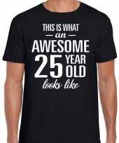 Awesome 25 year verjaardag cadeau t-shirt zwart voor heren kopen