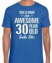 Awesome 30 year verjaardag cadeau t-shirt blauw voor heren kopen