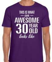 Awesome 30 year verjaardag cadeau t-shirt paars voor heren kopen