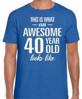 Awesome 40 year verjaardag cadeau t-shirt blauw voor heren kopen