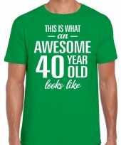 Awesome 40 year verjaardag cadeau t-shirt groen voor heren kopen