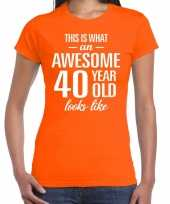 Awesome 40 year verjaardag cadeau t-shirt oranje voor dames kopen