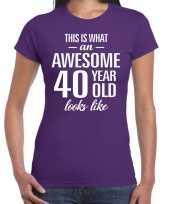 Awesome 40 year verjaardag cadeau t-shirt paars voor dames kopen