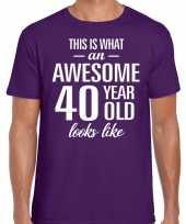 Awesome 40 year verjaardag cadeau t-shirt paars voor heren kopen