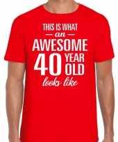 Awesome 40 year verjaardag cadeau t-shirt rood voor heren kopen