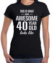 Awesome 40 year verjaardag cadeau t-shirt zwart voor dames kopen