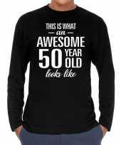 Awesome 50 year abraham verjaardag cadeau t-shirt zwart voor heren kopen