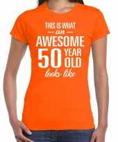 Awesome 50 year sarah verjaardag cadeau t-shirt oranje voor sarah kopen