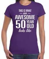 Awesome 50 year sarah verjaardag cadeau t-shirt paars voor sarah kopen
