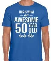 Awesome 50 year verjaardag cadeau t-shirt blauw voor heren kopen