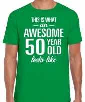 Awesome 50 year verjaardag cadeau t-shirt groen voor heren kopen