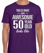 Awesome 50 year verjaardag cadeau t-shirt paars voor heren kopen