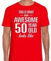 Awesome 50 year verjaardag cadeau t-shirt rood voor heren kopen