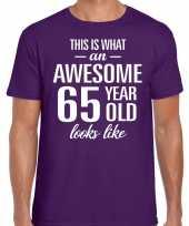 Awesome 65 year verjaardag cadeau t-shirt paars voor heren kopen