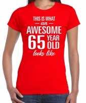 Awesome 65 year verjaardag cadeau t-shirt rood voor dames kopen