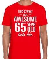 Awesome 65 year verjaardag cadeau t-shirt rood voor heren kopen