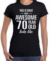 Awesome 70 year cadeau t-shirt zwart voor dames kopen