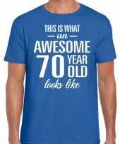 Awesome 70 year verjaardag cadeau t-shirt blauw voor heren kopen