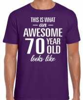 Awesome 70 year verjaardag cadeau t-shirt paars voor heren kopen