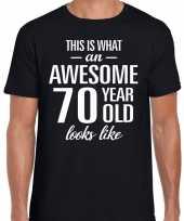 Awesome 70 year verjaardag cadeau t-shirt zwart voor heren kopen
