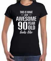 Awesome 90 year cadeau verjaardag t-shirt zwart voor dames kopen