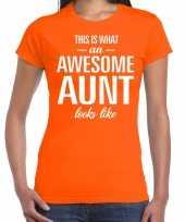 Awesome aunt cadeau t-shirt oranje voor dames kopen