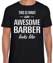 Awesome barber barbier cadeau t shirt zwart voor heren kopen